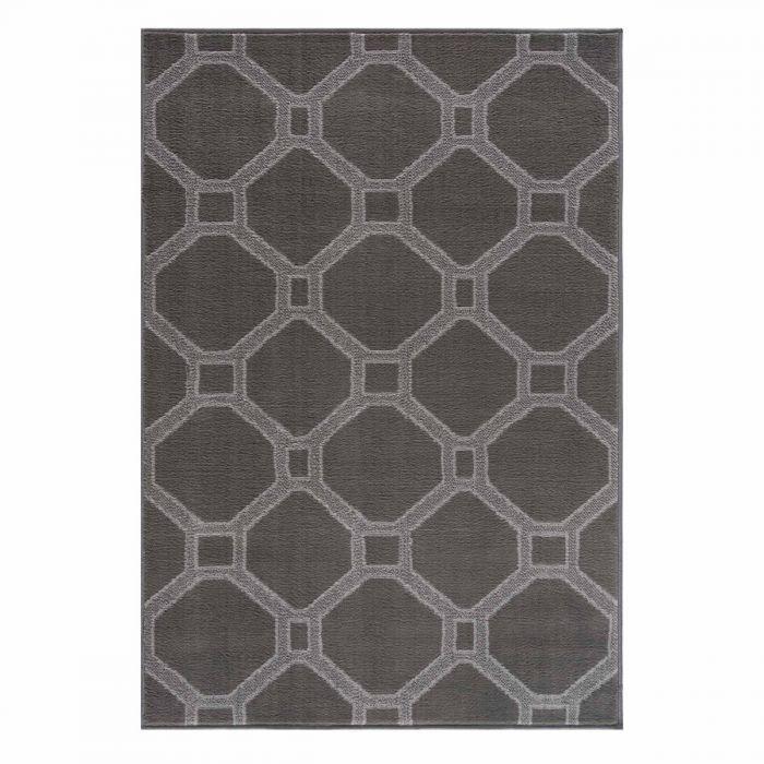 Kurzflor Teppich Grau Waben Pastel Geo 3220S