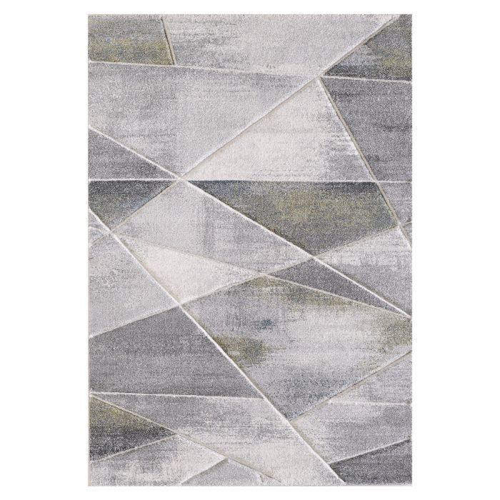 Aktuelle Trends Inspirieren Moderner Kurzflor Teppich Grau Grün geometrisches Design | 2901