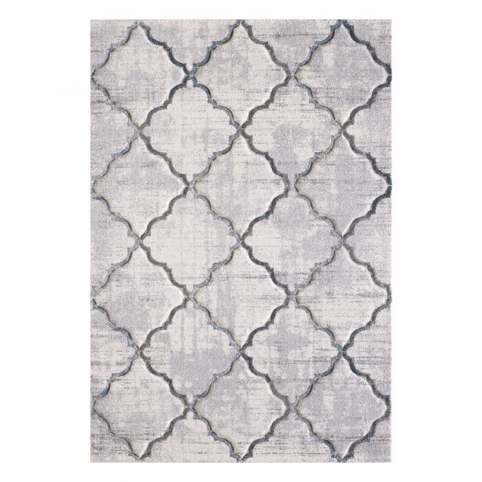 Geometrische Muster Kurzflorteppich Designer Teppich Weiß Rauten Muster Hand Gecarvt | 2904