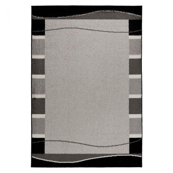 120x170 cm Kurzflor Teppich Grau Moderne Bordüre MY1740