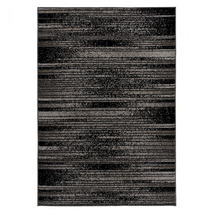Kurzflor Teppich Grau Schwarz Trendig Liniert M1760