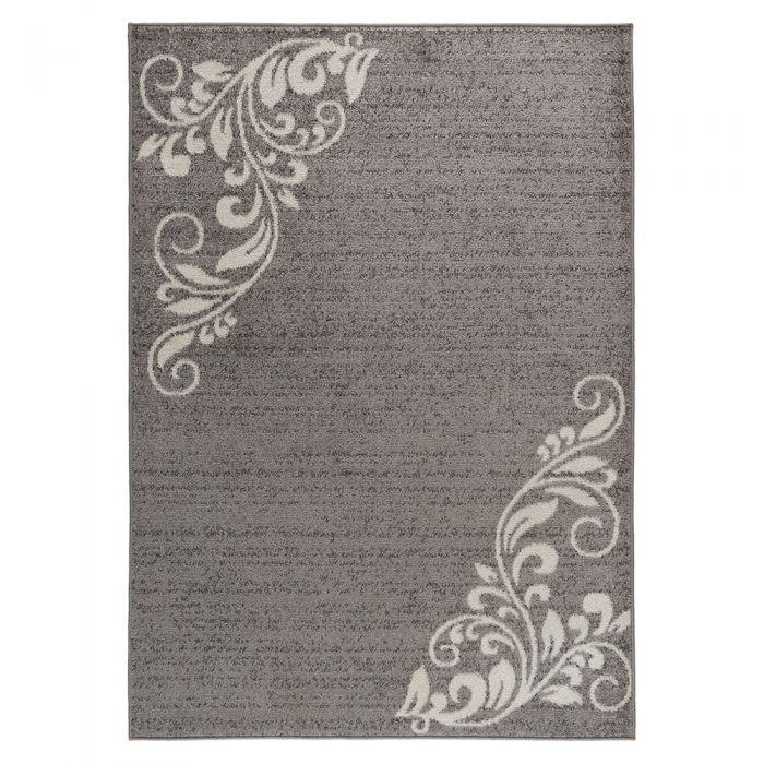 Teppich Kurzflor Grau Floral Blumen Design M1780