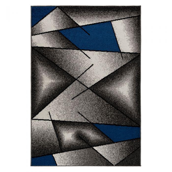 Moderner Kurzflor Teppich Blau Designer Muster M1790