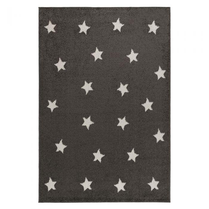 Kurzflor Teppich Grau Weiße Sternmotive M1820S