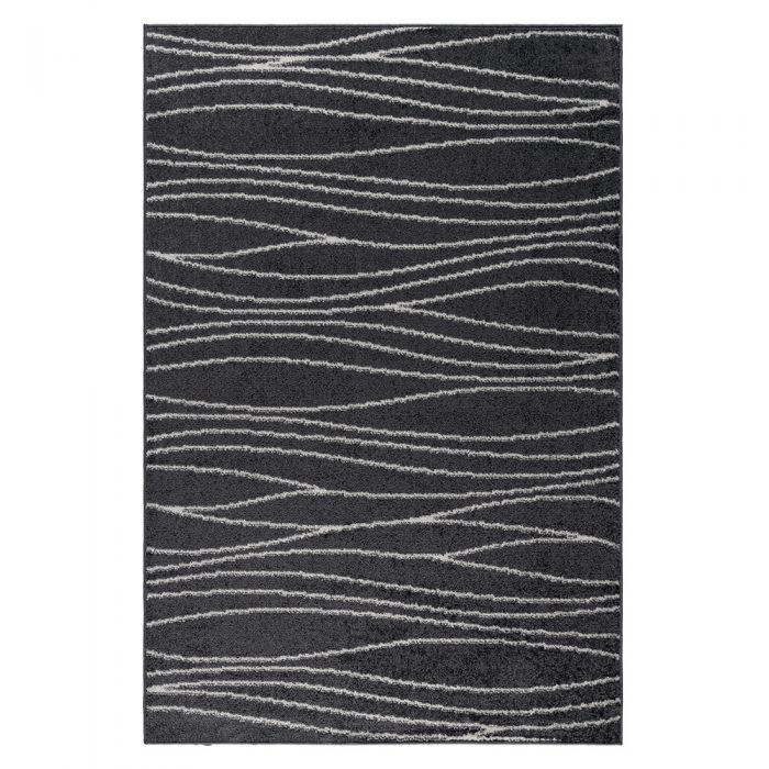 Kurzflor Teppich in Grau Weiss geometrischer Linien Design M1850S