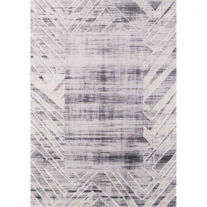 Kurzflor Teppich Grau mit Melierung geometrischer Bordüre M3209