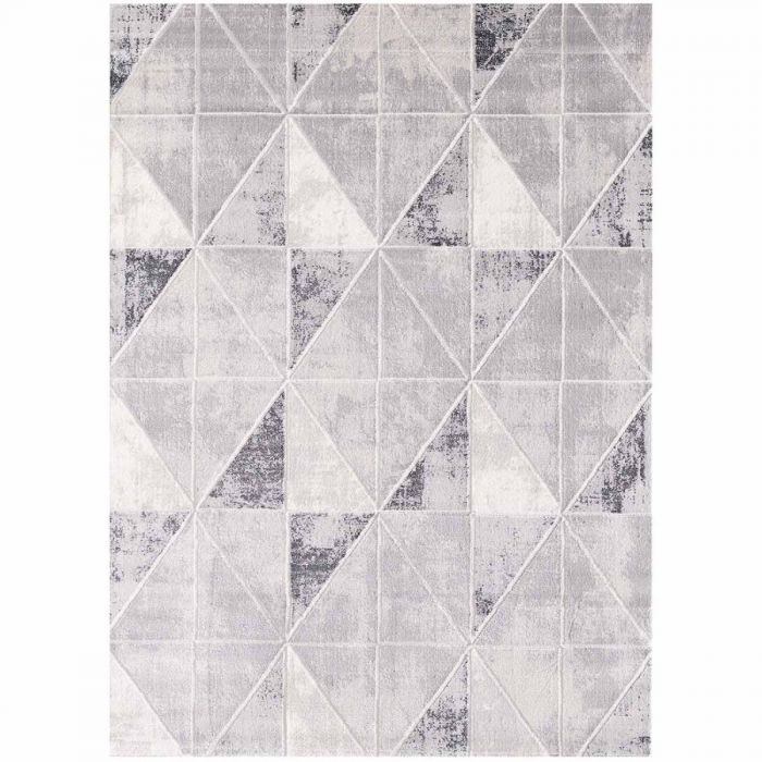 Moderner Teppich mit weichem Flor in Geo Muster Hell Grau M3212