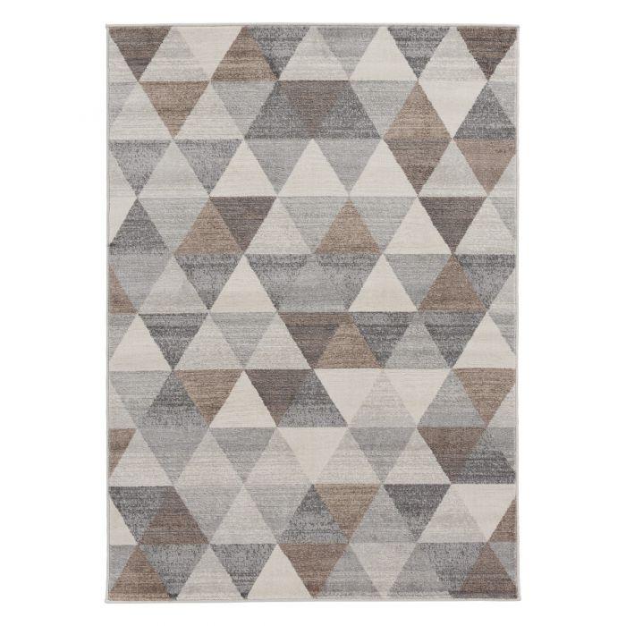 Valetntinstag Moderner Kurzflor Teppich Beige | Geo Dreieck Muster | MY3710V