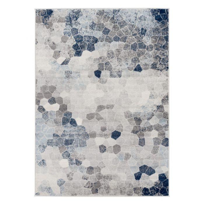 Moderner Kurzflor Teppich Blau Mozaik Steinmuster M3712M