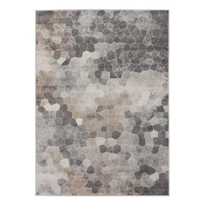 Vintage Patchwork Muster Moderner Kurzflor Teppich Beige | Mozaik Steinmuster | MY3712V
