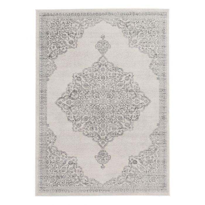 Valetntinstag Barock Teppich Kurzflor Creme | Ornament Grau Style | MY3724