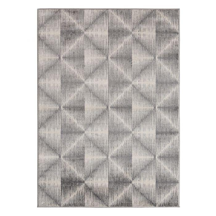 Moderner Kurzflor Teppich Grau Geo Viereck Muster M3732G