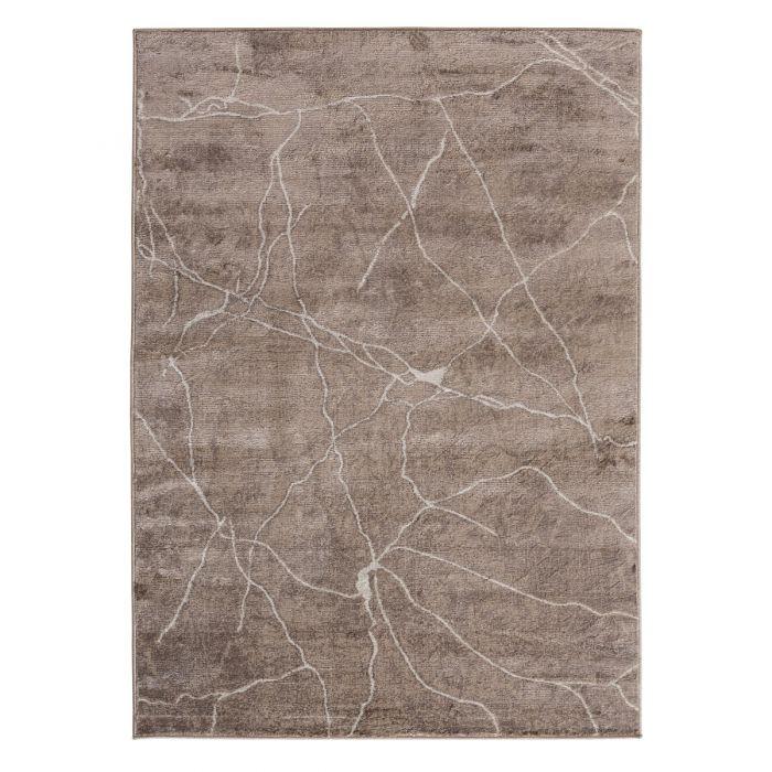 Moderner Kurzflor Teppich Braun Geo Marmor Muster M3740B