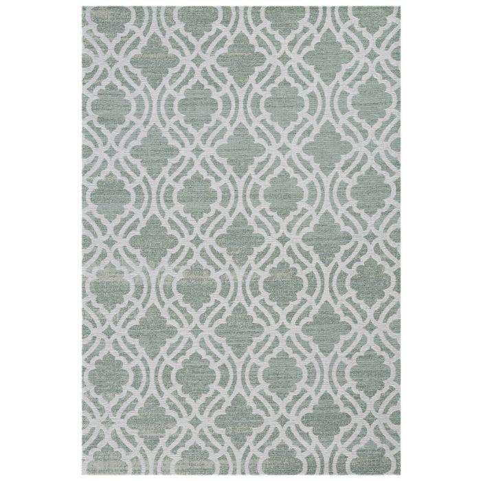 Waschbarer Teppich Baumwolle Abstrakt Geo Eis Grün M6900