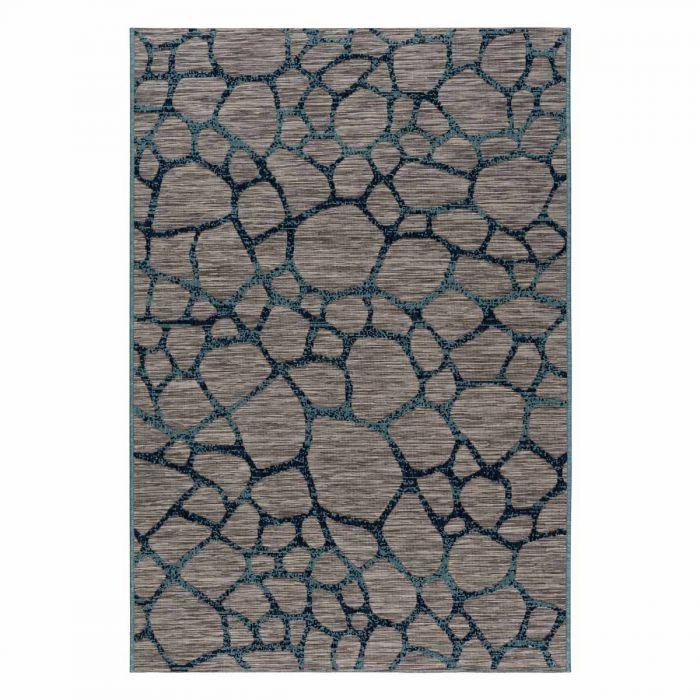 Outdoorteppich in Blau Grau mit 3D Struktur M3450