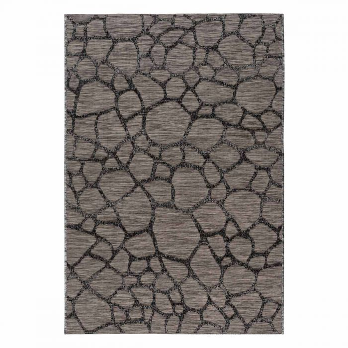 Outdoorteppich in Grau Schwarz mit 3D Struktur M3450
