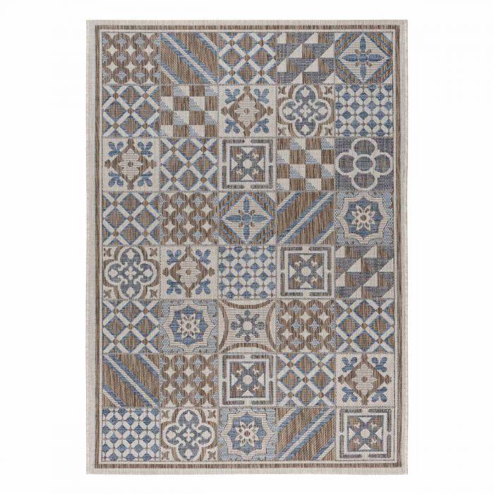 Outdoorteppich Skandi Mozaik Patchwork Blau Grau M3690