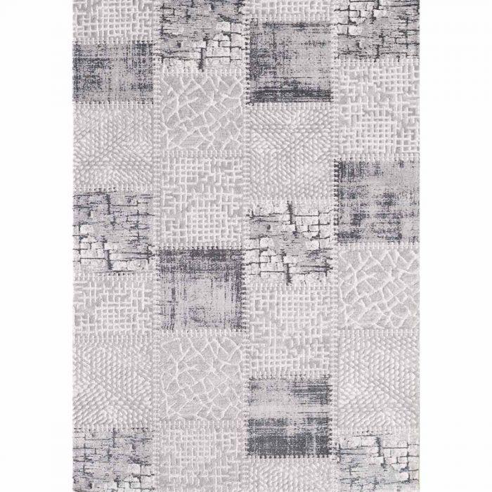 Aktuelle Trends Inspirieren Patchwork Teppich im Vintage gekacheltem Look in Soft Grau MY3202