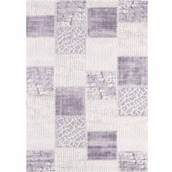 Patchwork Teppich Vintage gekachelter Look in Soft Lila Cream M3202