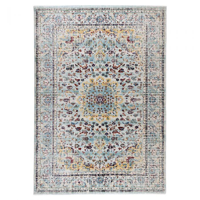 Vintage Teppich Used Look in Türkis Gelb   Rustik Design MY7609 Rustik-7609-Red Schlafzimmer