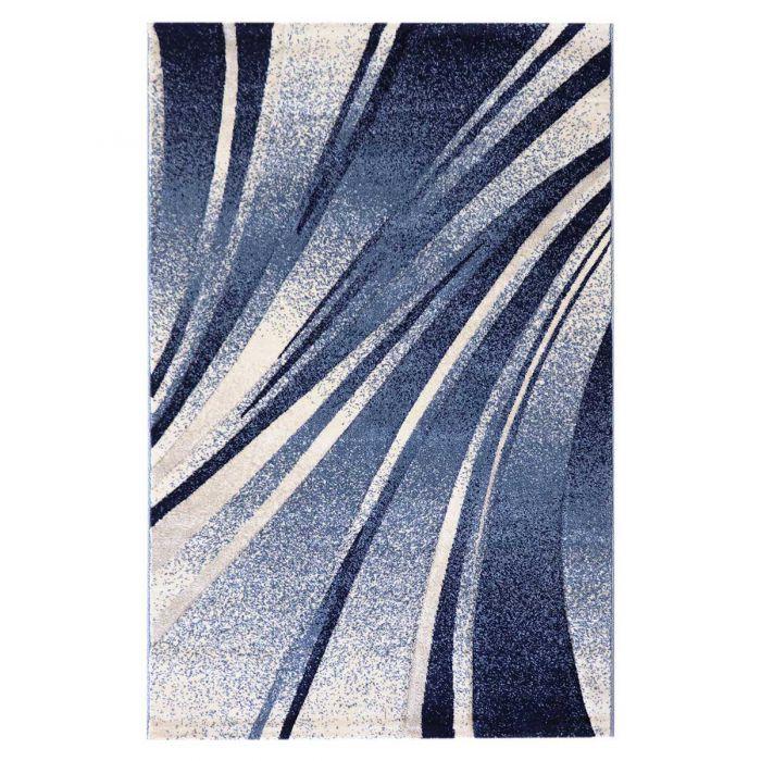 Teppich Kurzflor Blau Design Geometrische Konturen M7510
