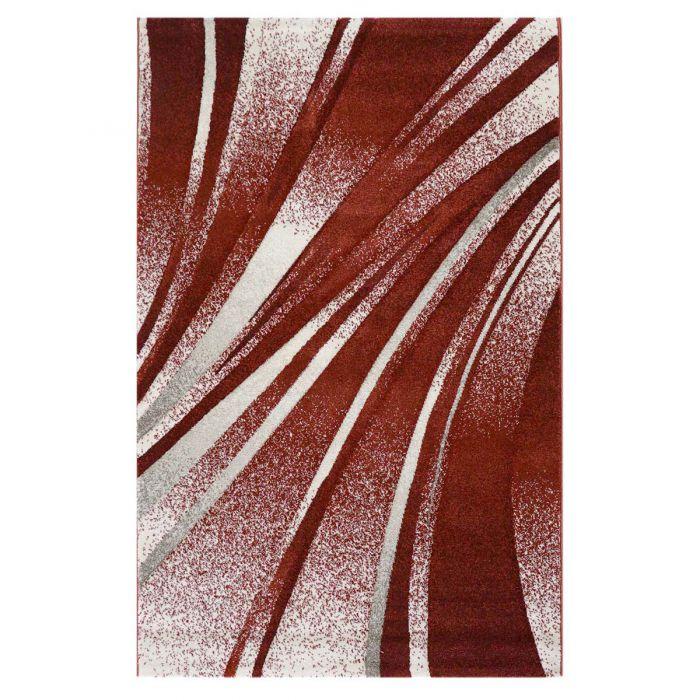 Teppich Kurzflor Rot Design Geometrische Konturen M7510