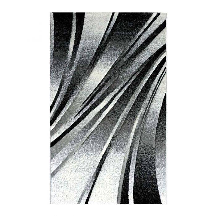 Teppich Kurzflor Schwarz Design Geometrische Konturen M7510