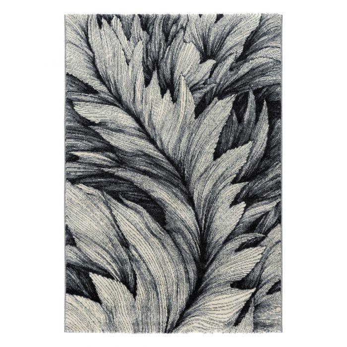 120x170 cm Teppich Kurzflor Grau Weiss Designer Feder Muster MY7610