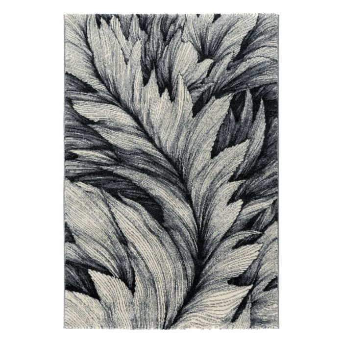 200x290 cm Teppich Kurzflor Grau Weiss Designer Feder Muster MY7610