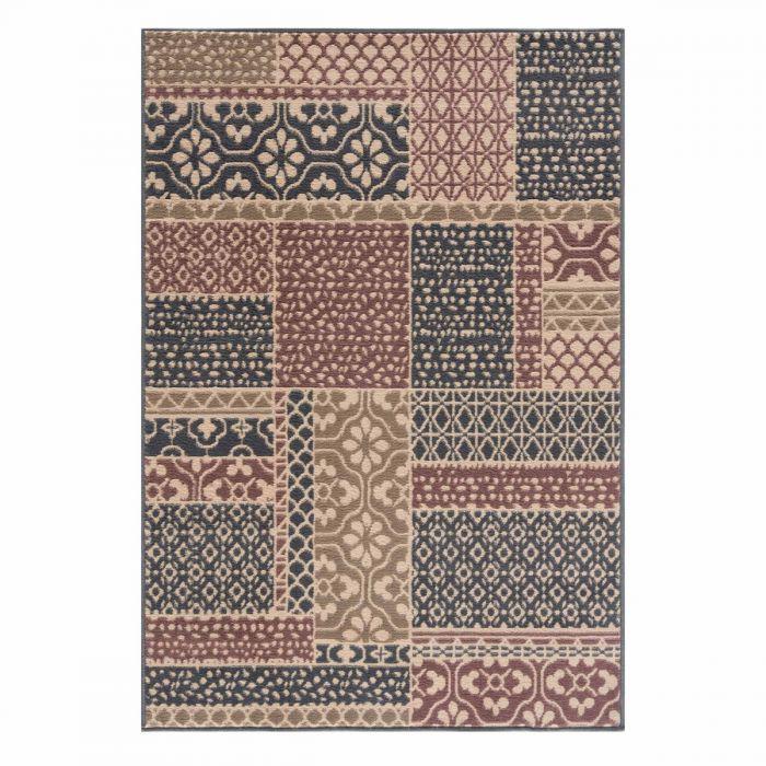 Vintage Teppich Braun Kurzflor Patchwork Muster 3230V