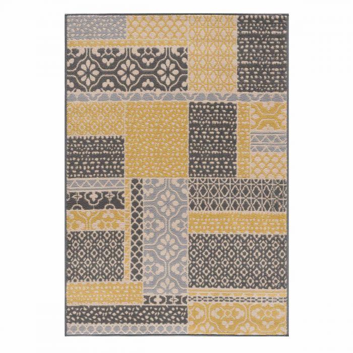 Vintage Teppich Gelb Kurzflor Patchwork Muster 3230Y