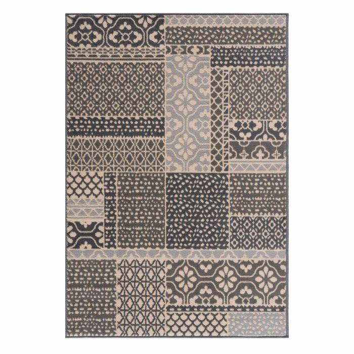 Vintage Teppich Grau Kurzflor Patchwork Muster 3230S