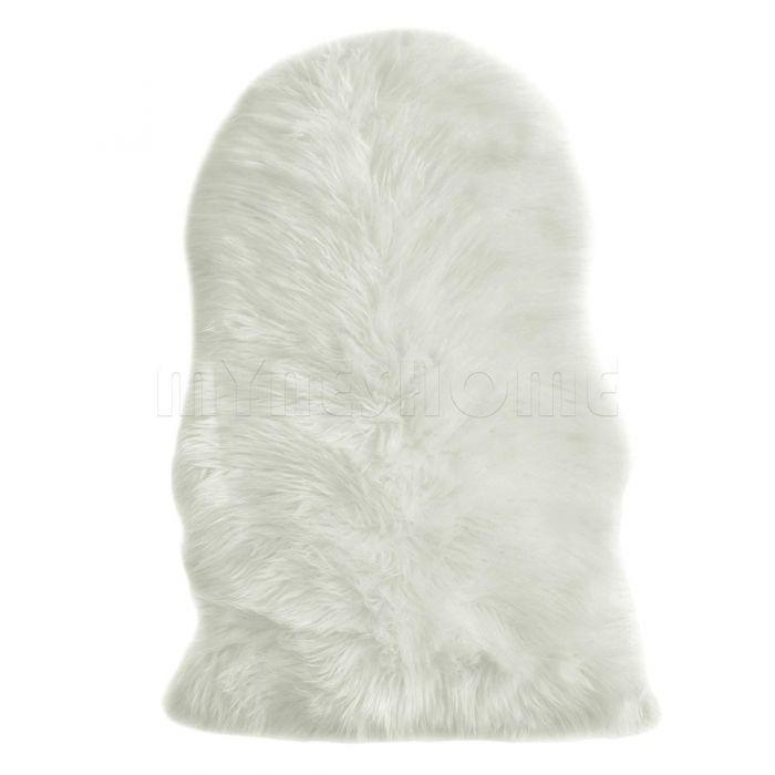 Winter Sale Teppiche Kunstfell Schaffell Imitat Teppich Felldecke Lammfell Creme Weiß in Schafform 55x80 cm