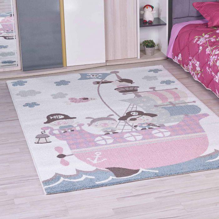 Kinderzimmer Teppich Bunt | Piratenmotiv für Jungs | Mädchen Nr.4604 |  160x230 cm