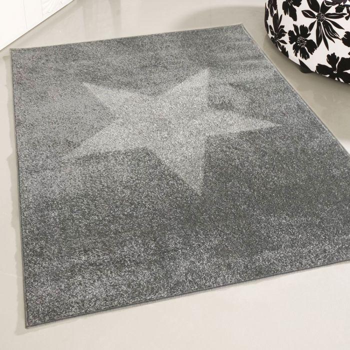 Kurzflor Teppich Grau | Stern Motiv MY1710