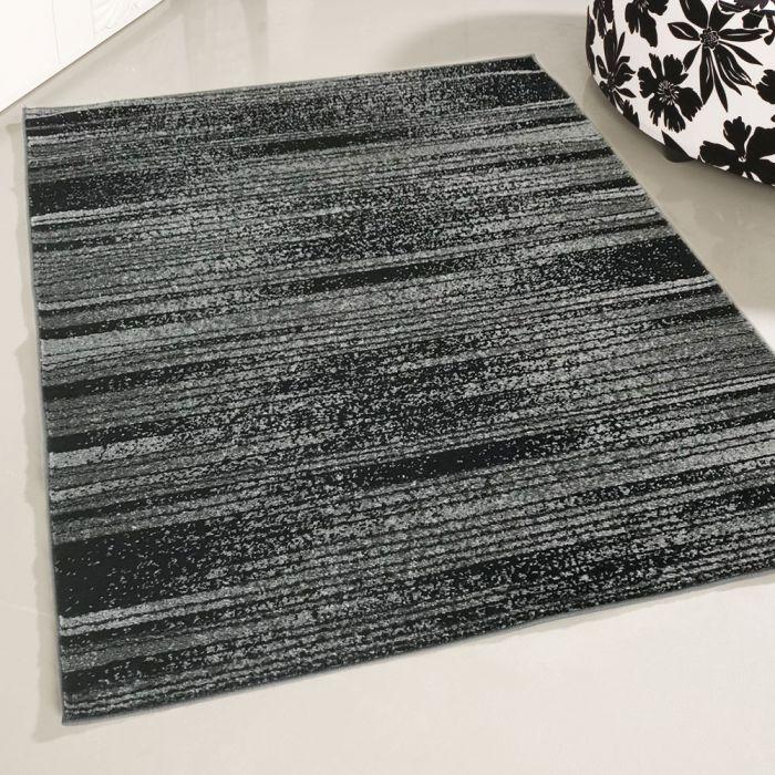 Kurzflor Teppich Grau Schwarz Trendig Liniert My1760