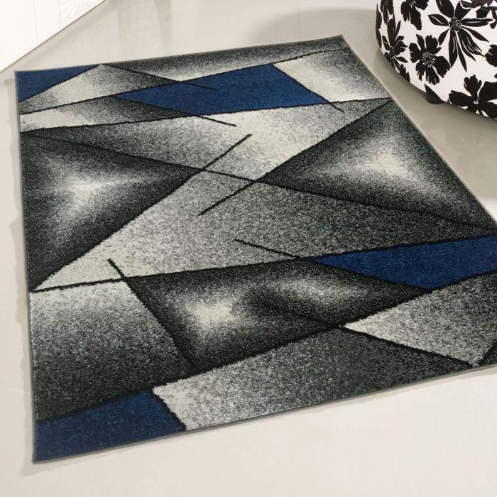 Teppich Kurzflor Modern Blau Designer Wohnzimmer Jugendzimmer