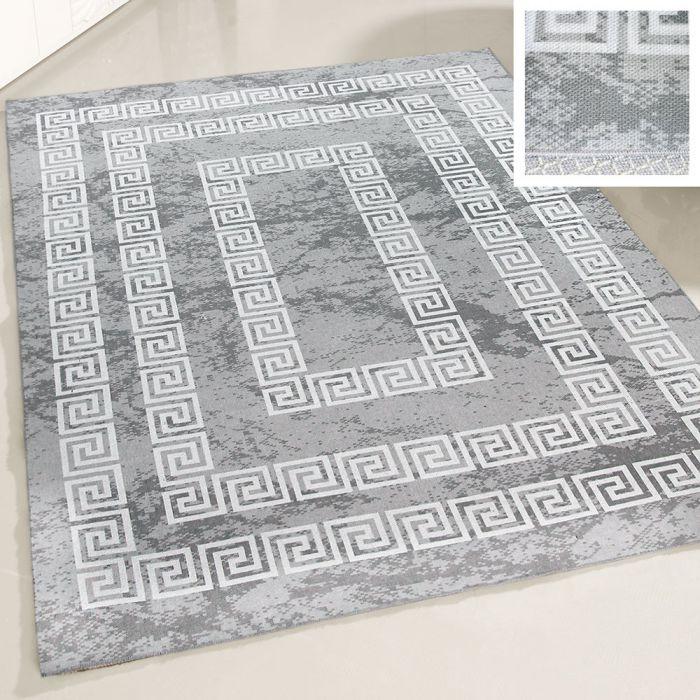 Teppich Waschbar Versace Design Grau Wohnzimmer Bad Kuche