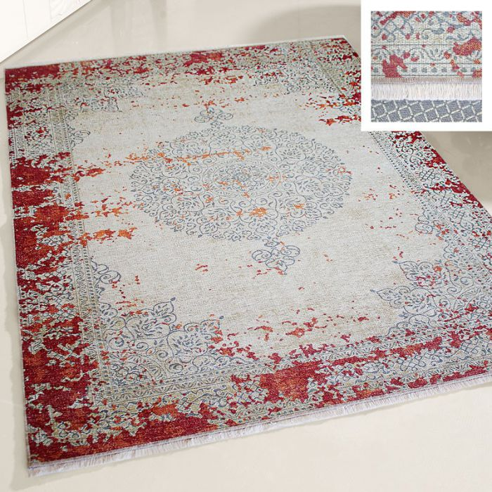 Teppich Medaillon Waschbar Weinrot Vintage Stil Used Look Wohnzimmer