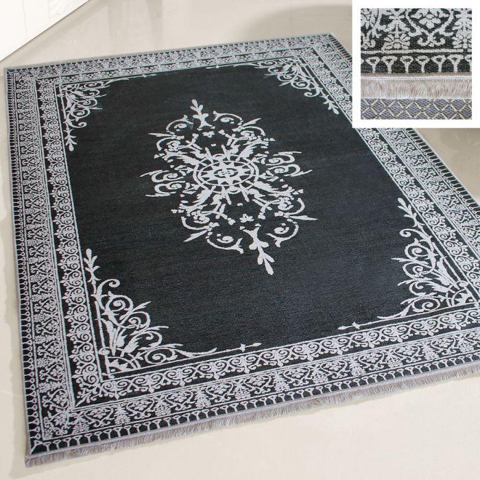Teppich Waschbar Anthrazit Grau Medaillon Bordure Rutschhemmend Bad
