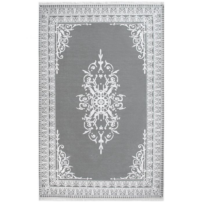 Teppich Waschbar Grau Medaillon Bordure Rutschhemmend Bad Kuche