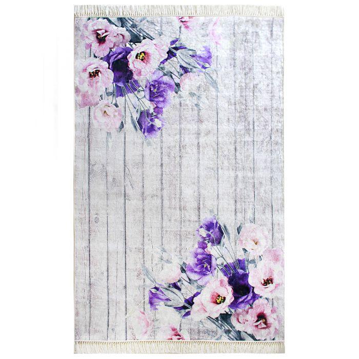 Moderner Teppich Lila Bluten Blumen Waschbar Landhausstil Shabby