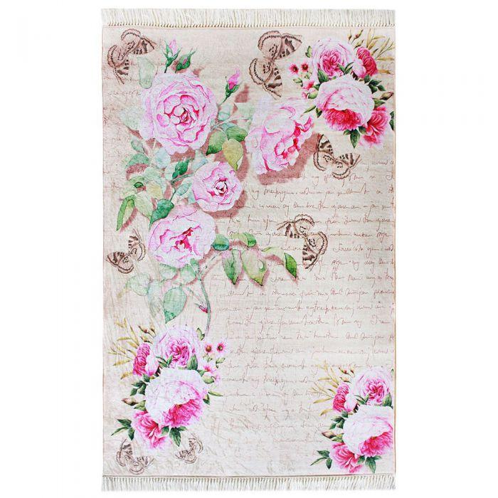 Waschbarer Teppich Rosa Blumen Shabby Chic Landhausstil Günstig