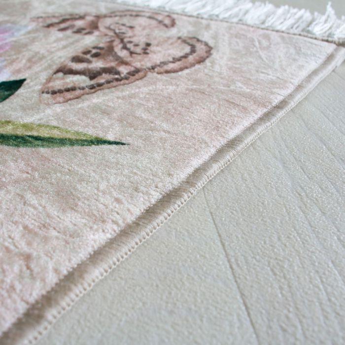 Waschbarer Teppich Blumen Bluten Design Shabby Chic Rosa Vintage