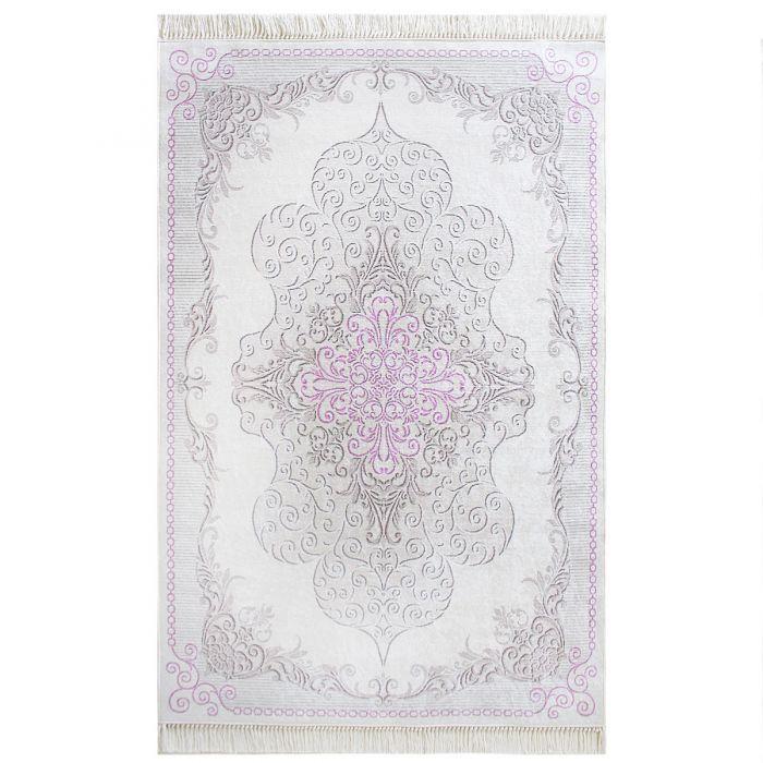 Teppich Waschbar Rosa Pink Medaillon Design Modern Rutschhemmend