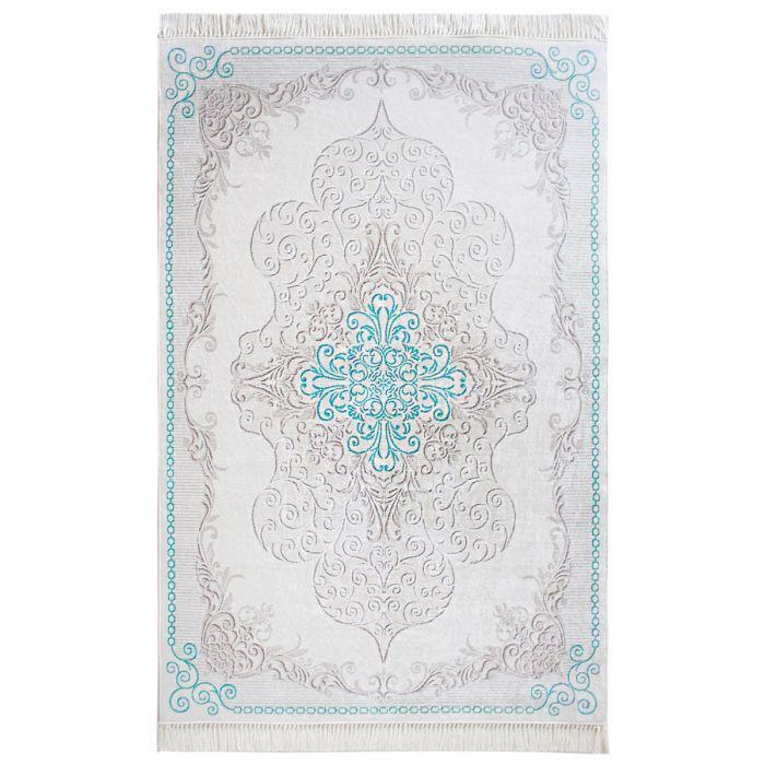 Teppich Waschbar Turkis Medaillon Design Modern Rutschhemmend Flur
