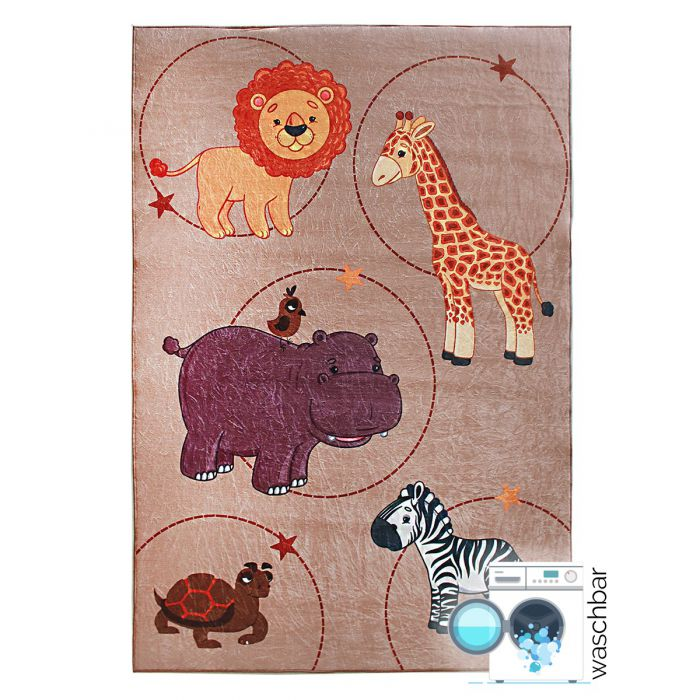 Waschbarer Kinderzimmer Teppich | Rutschhemmend Tiermotive | MY2524 |  160x230 cm