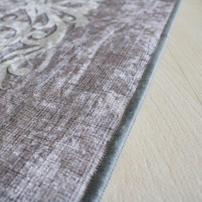 Teppich Waschbar Grau Umrandung Designer Modern Wohnzimmer