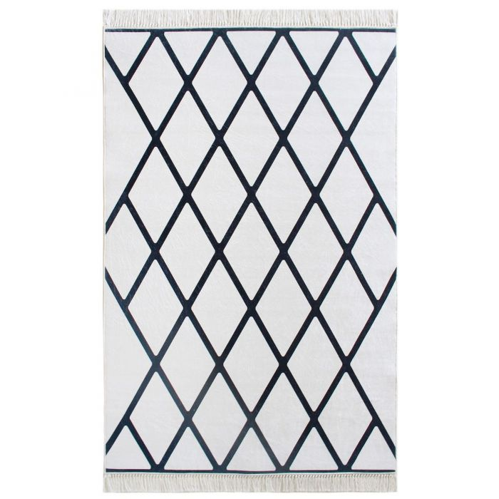 Teppich Modern Waschbar Mit Latexrucken Schwarz Weiss Badteppich