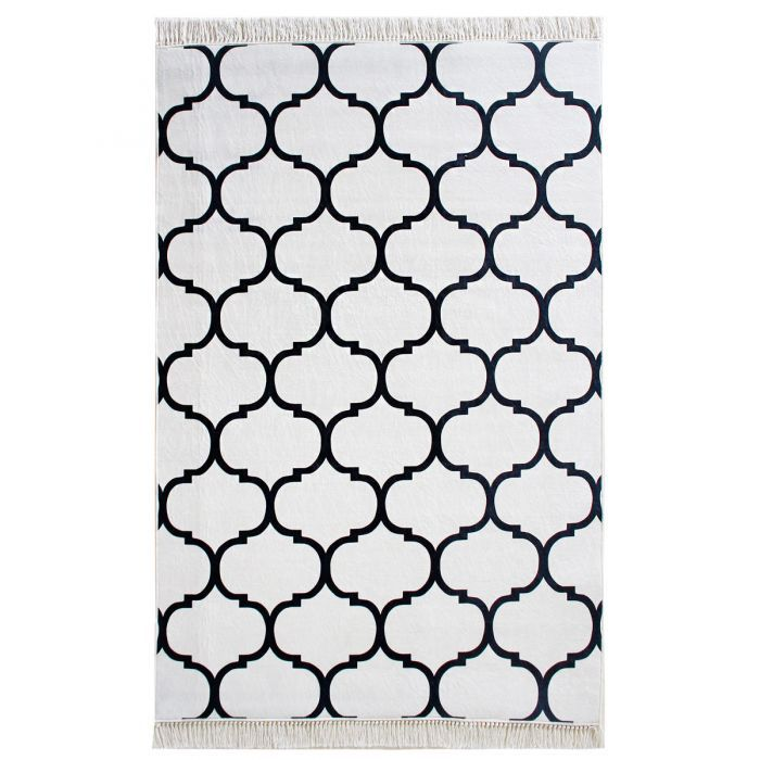 Teppich Waschbar Marrokanisches Design Schwarz Weiss Modern